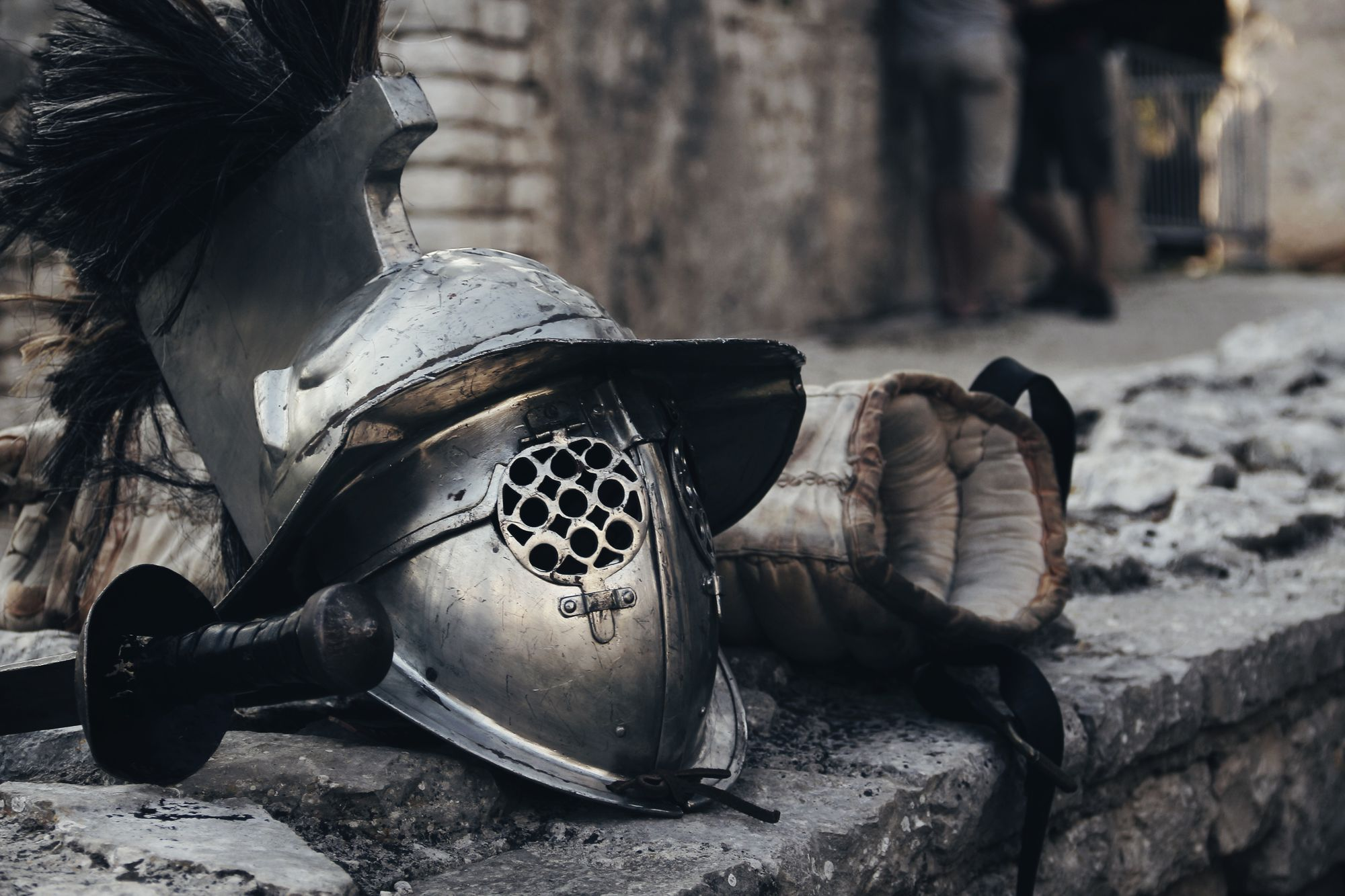 Helmet of a knight on the ground