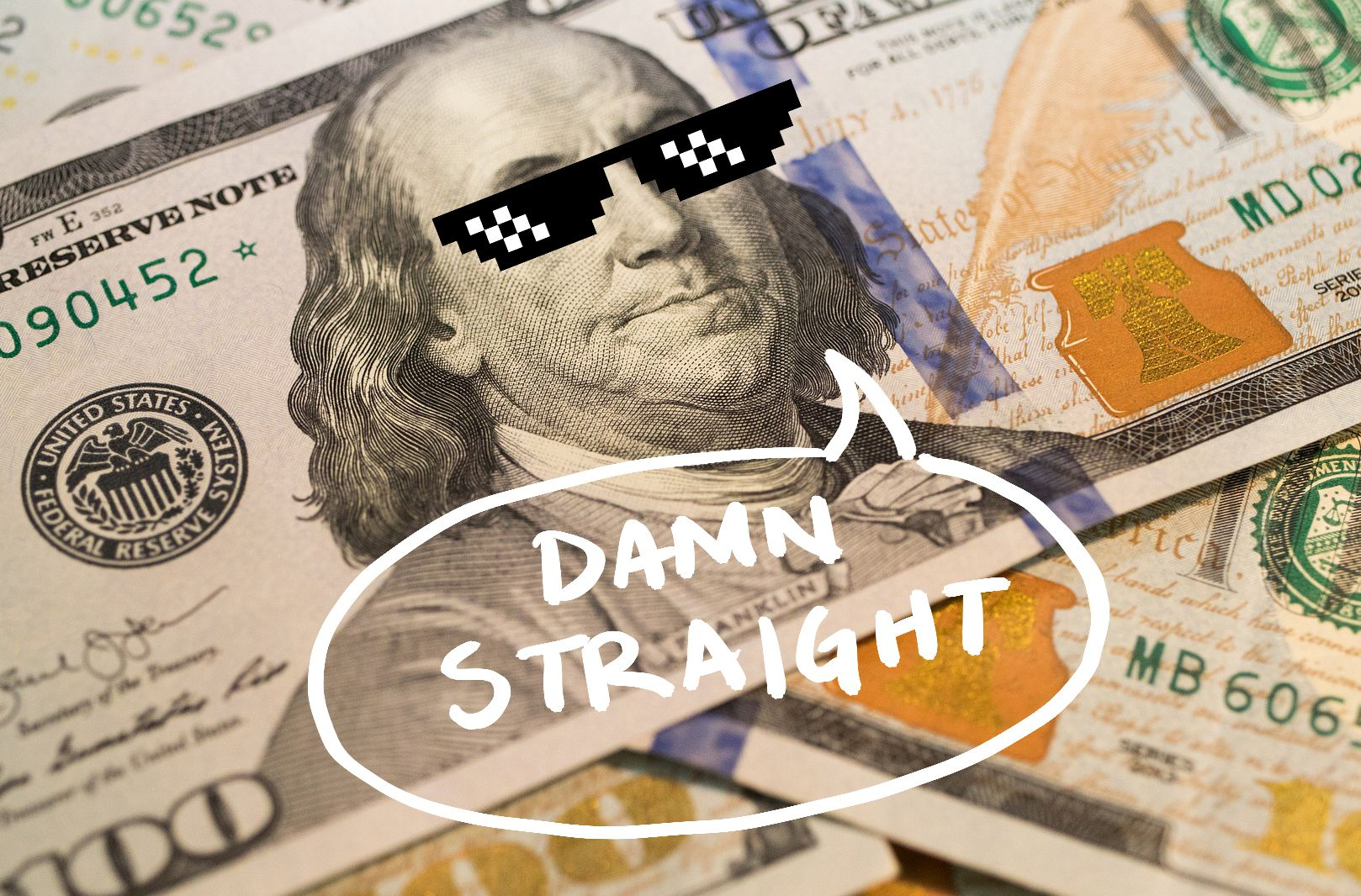 Benjamin Franklin wearing sunglasses