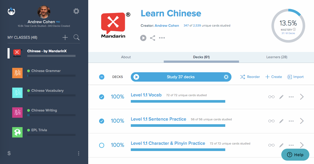 Brainscape's set of Chinese flashcards to learn Chinese