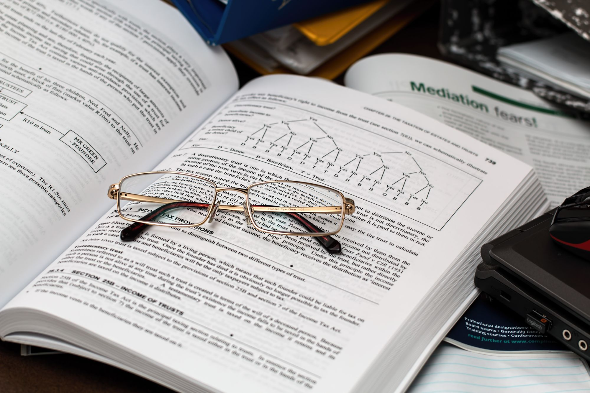 Course book with glasses on top of it