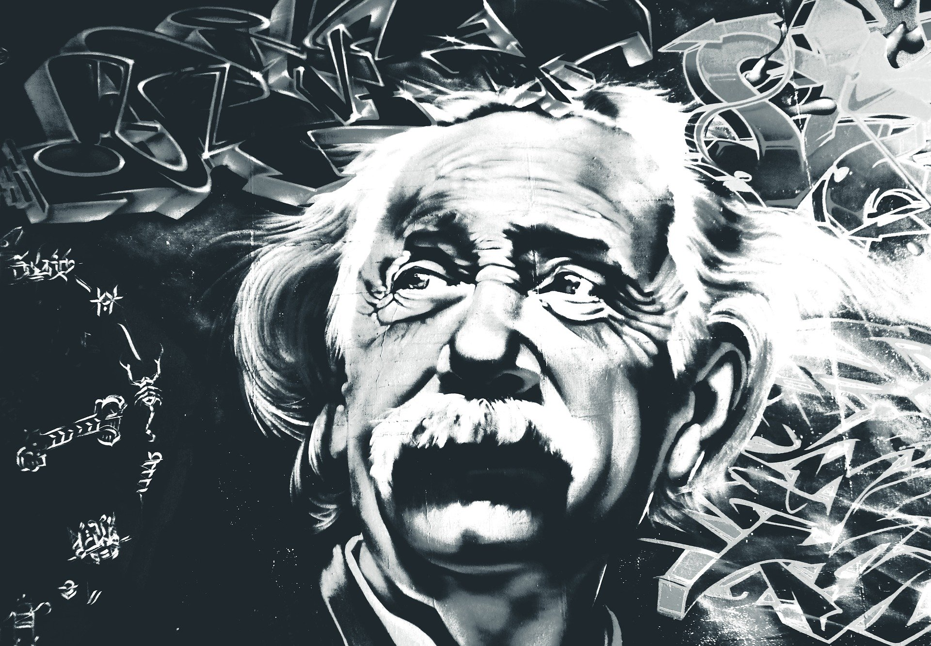 Graffiti drawing of Albert Einstein