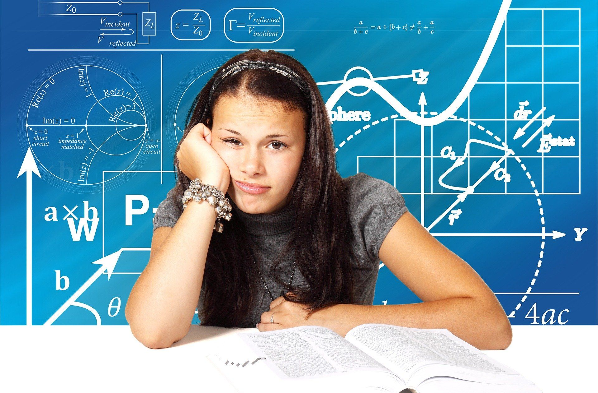Girl wondering how to study with diagrams in the background