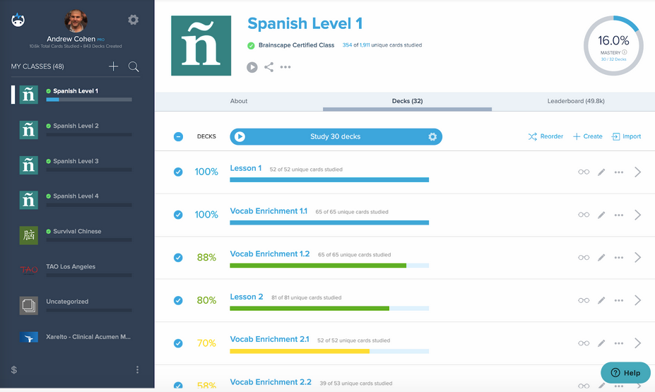 Brainscape flashcards help you learn Spanish more efficiently