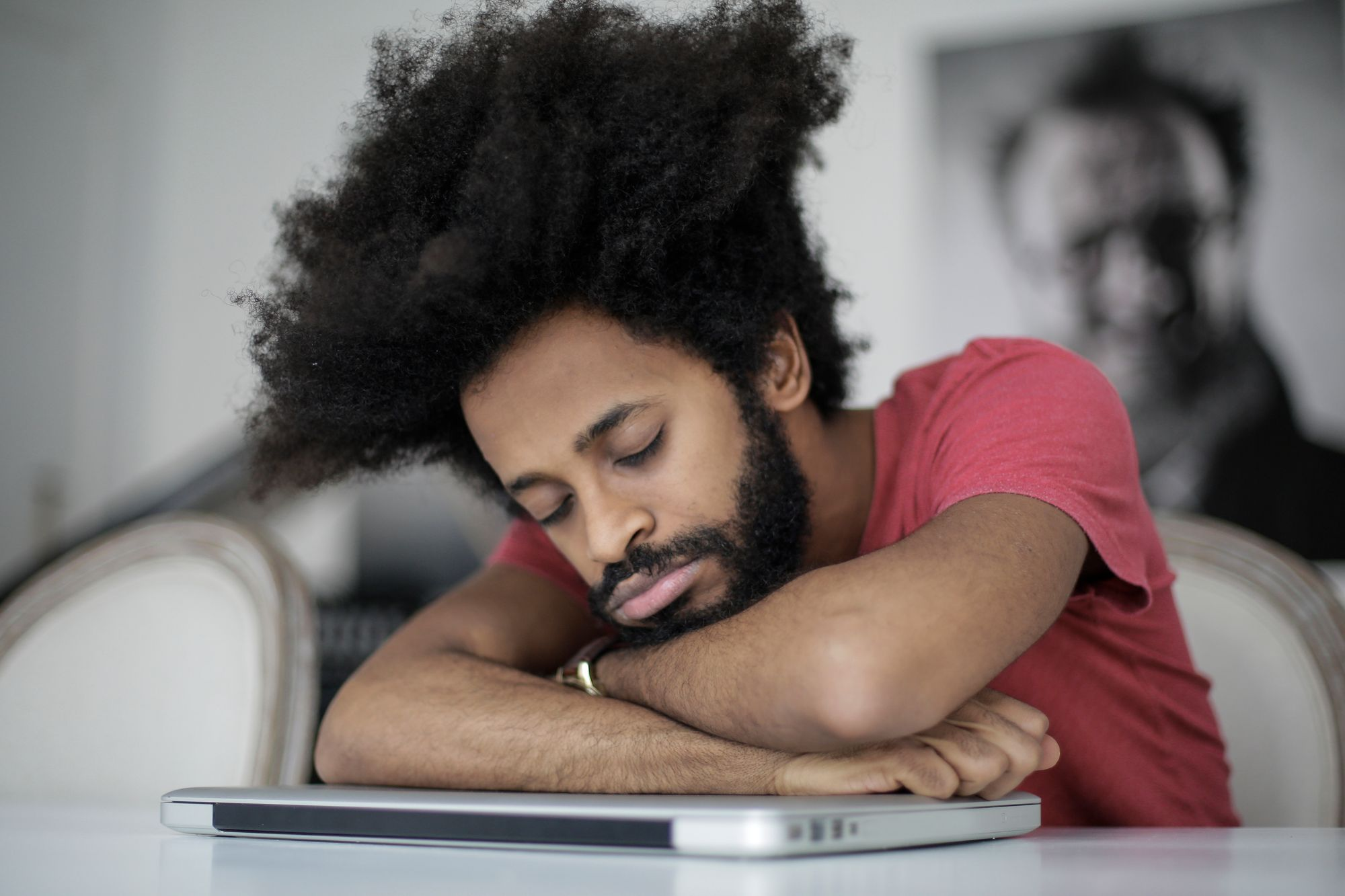 Man sleeping on the desk