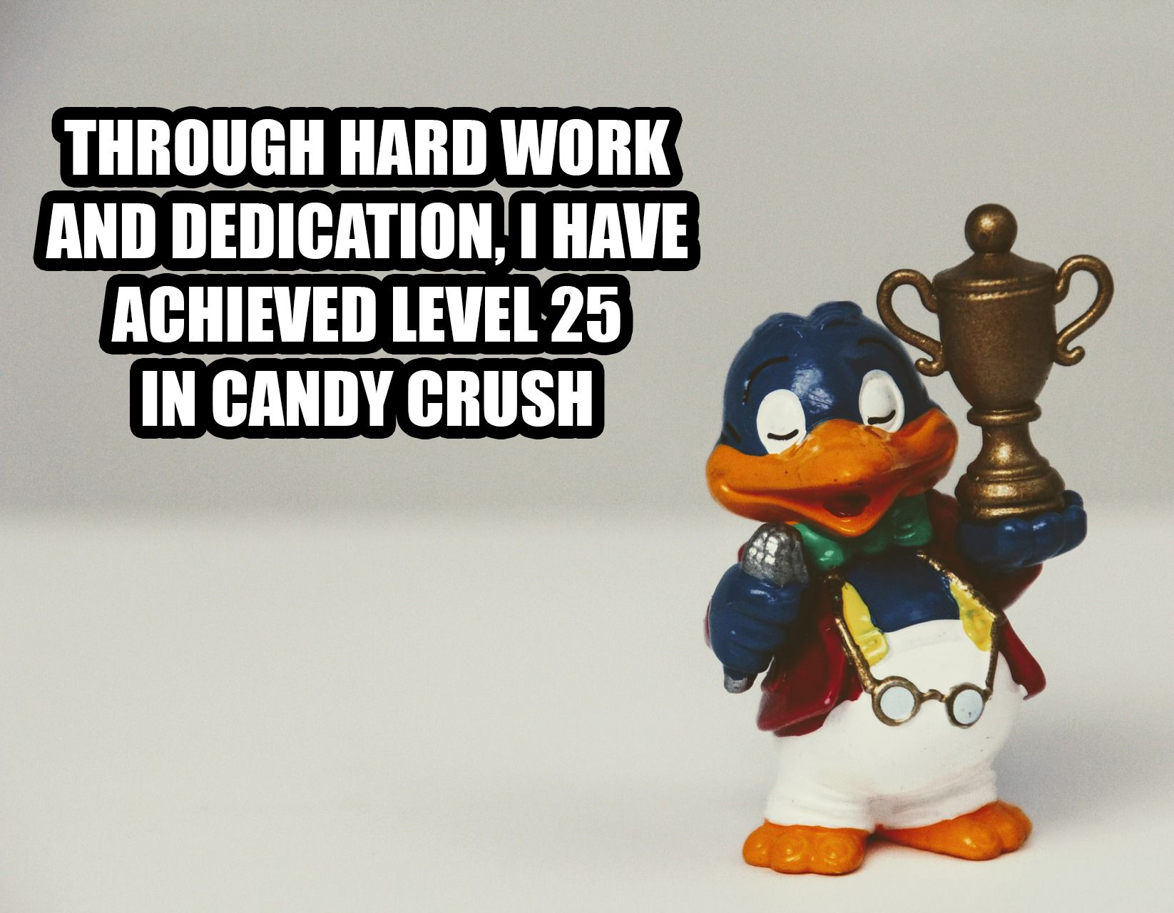 Penguin with a trophy for study motivation