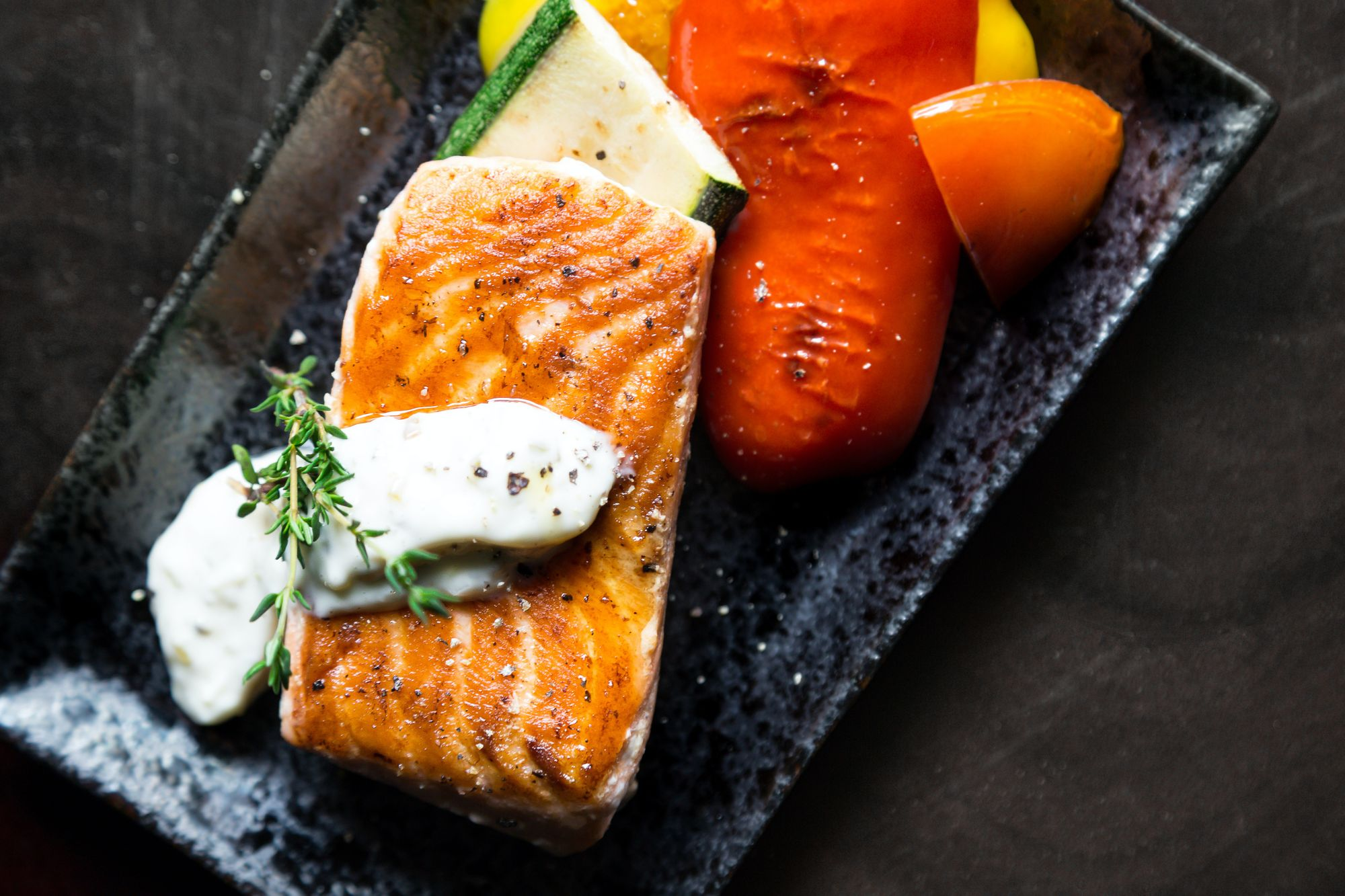 Salmon with vegetables are the best foods to eat before a test