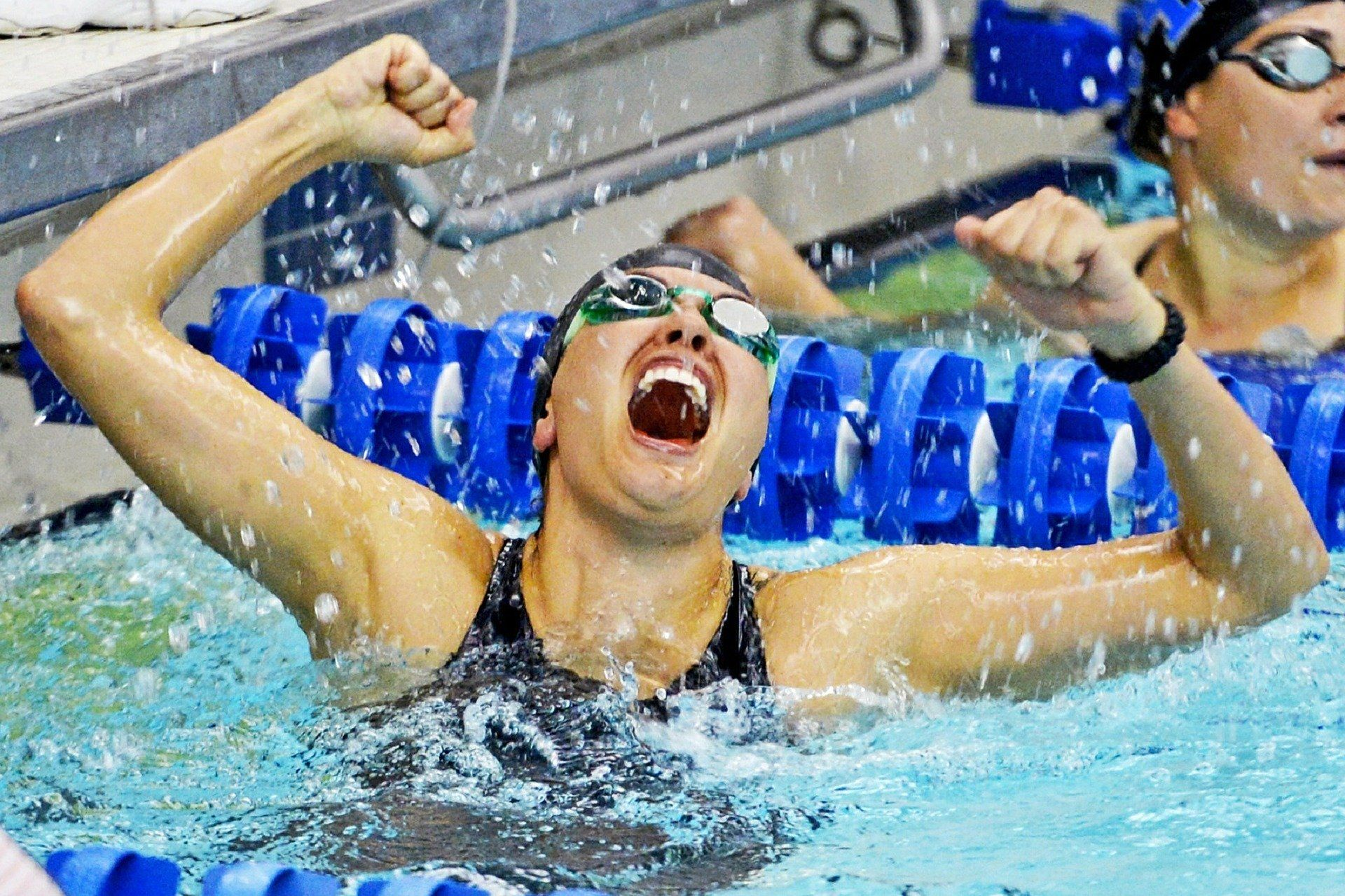 Swimmer celebrating a win