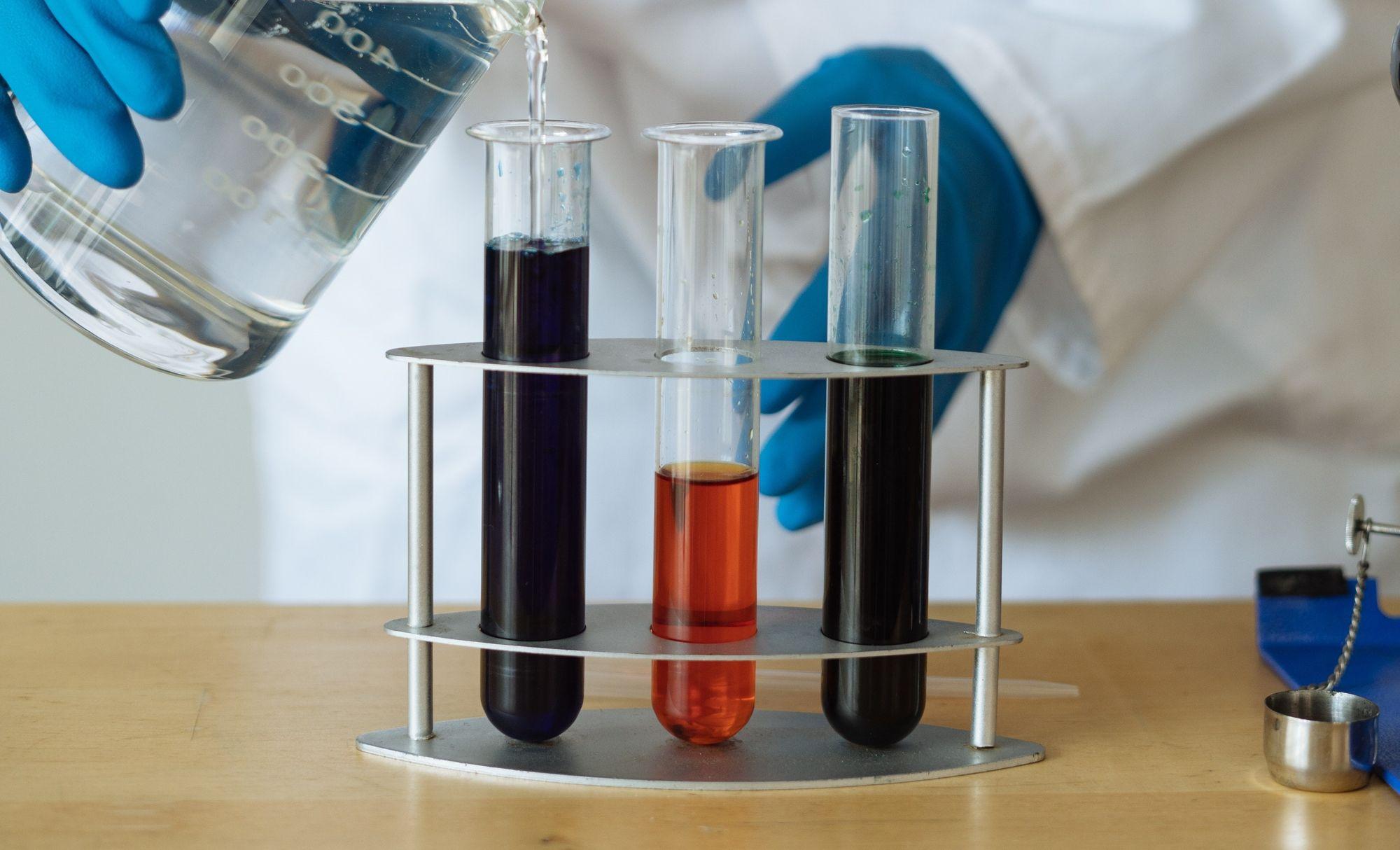 Test tubes on a desk