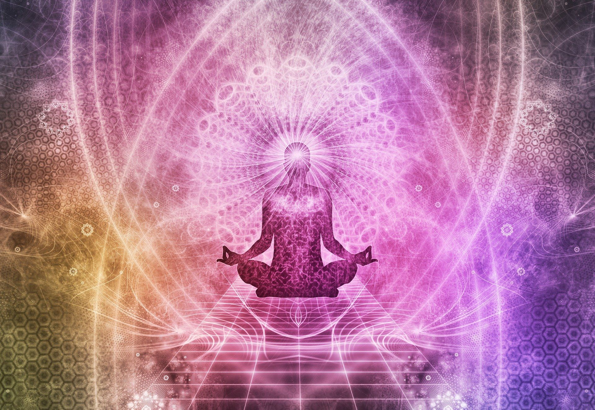 Colorful image of person meditating to improve concentration