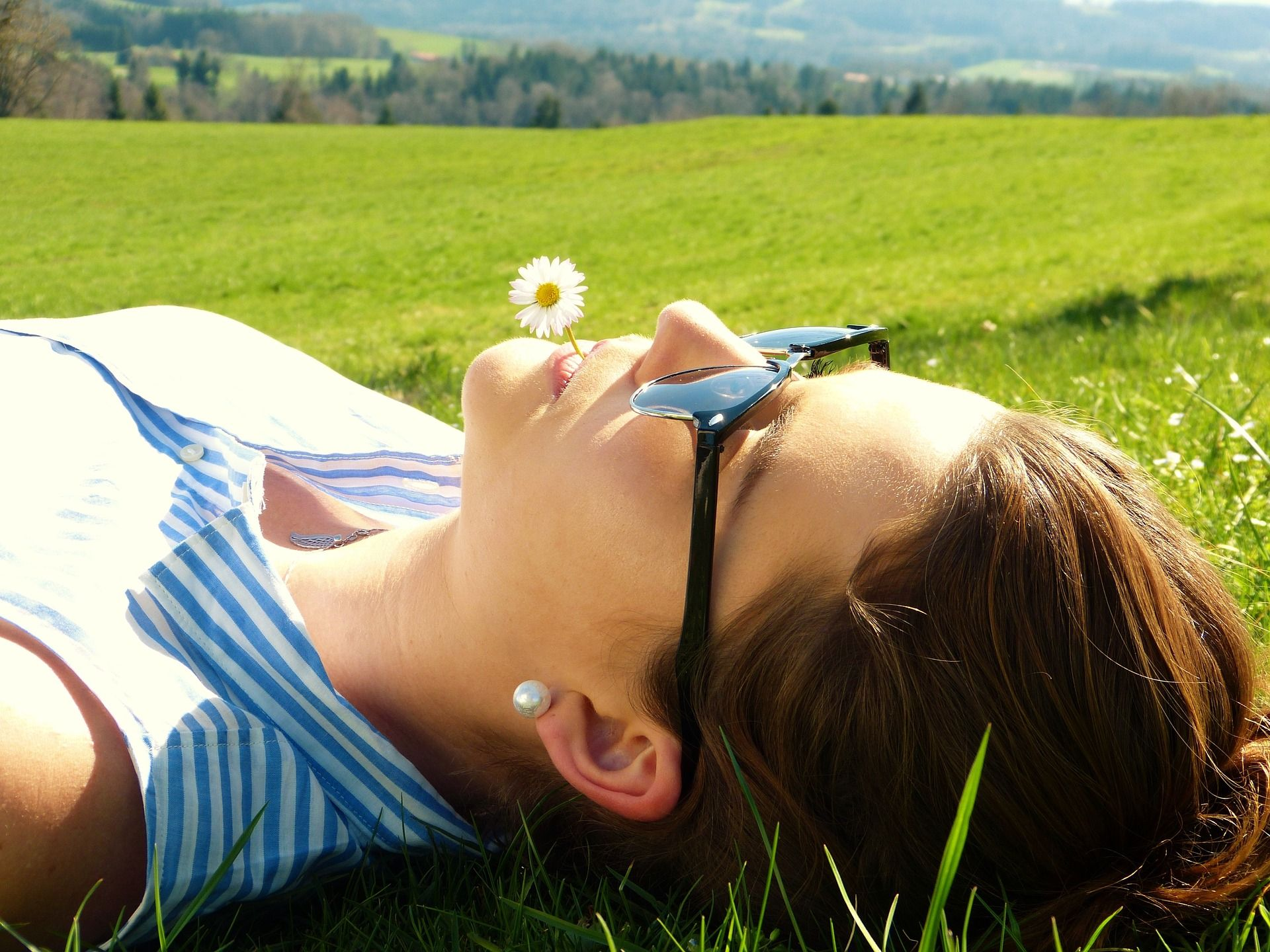 Woman lying the grass
