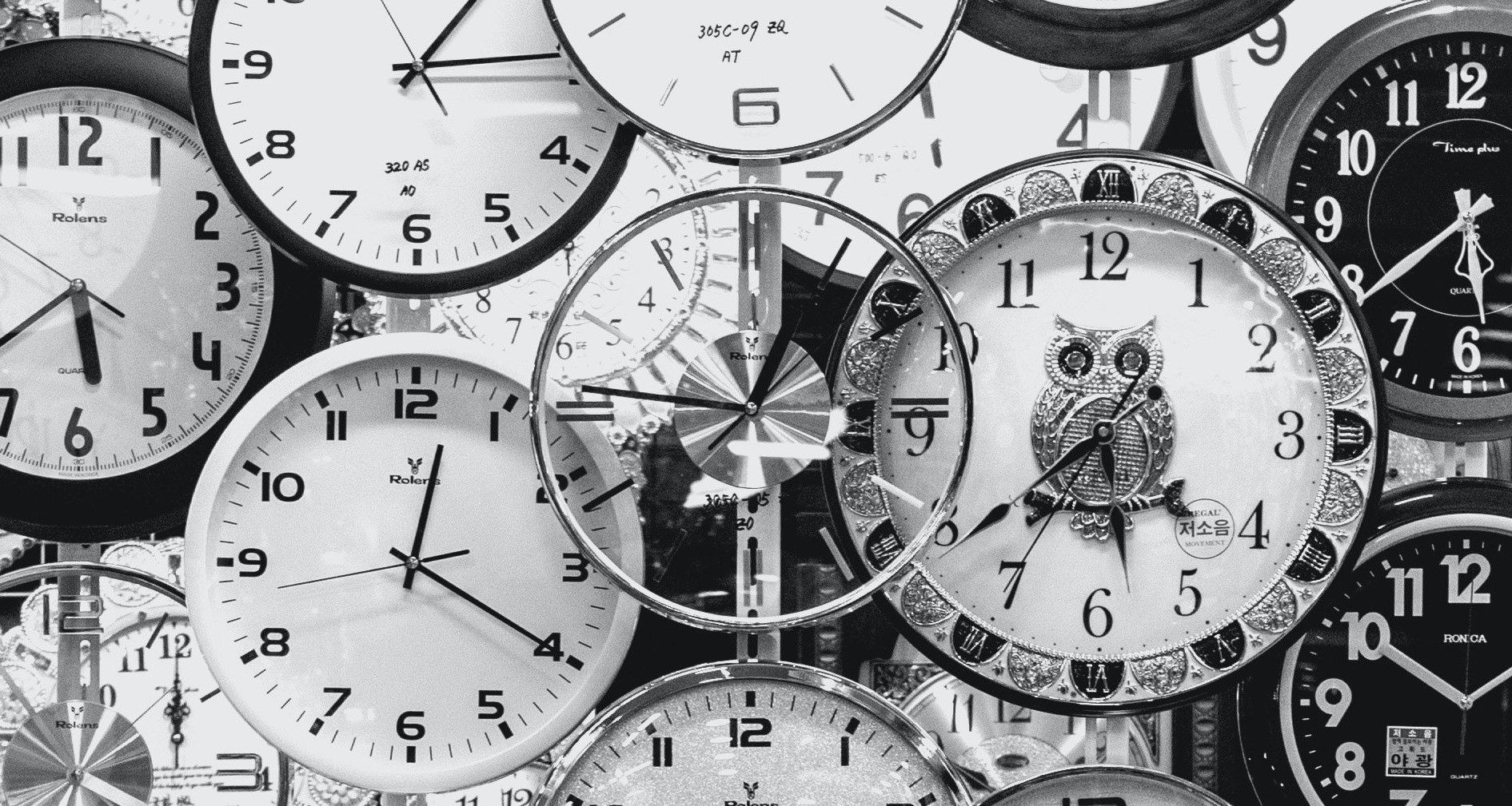 Many black and white clocks
