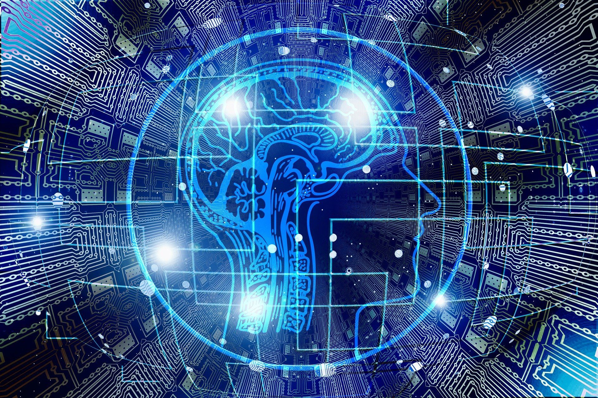 Blue brain image in circuit boards