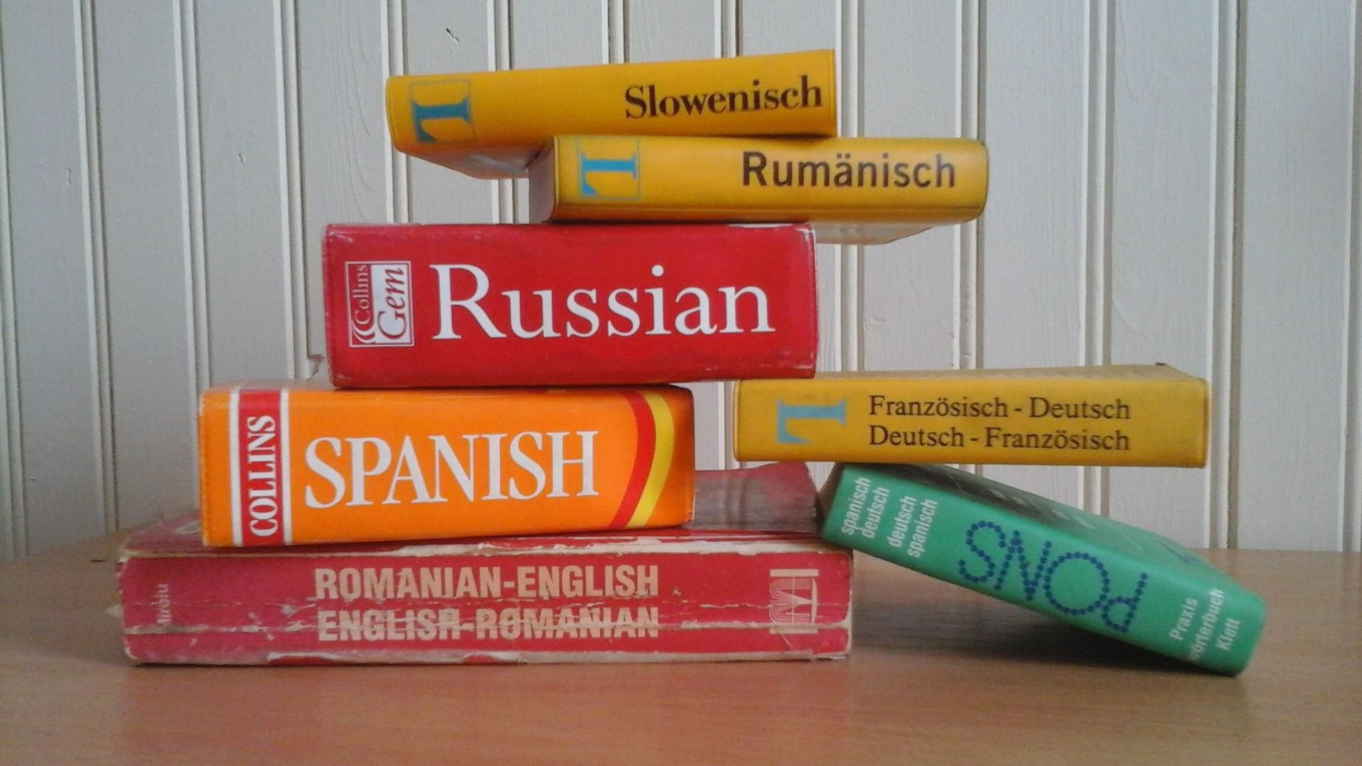 Foreign language dictionaries on a table