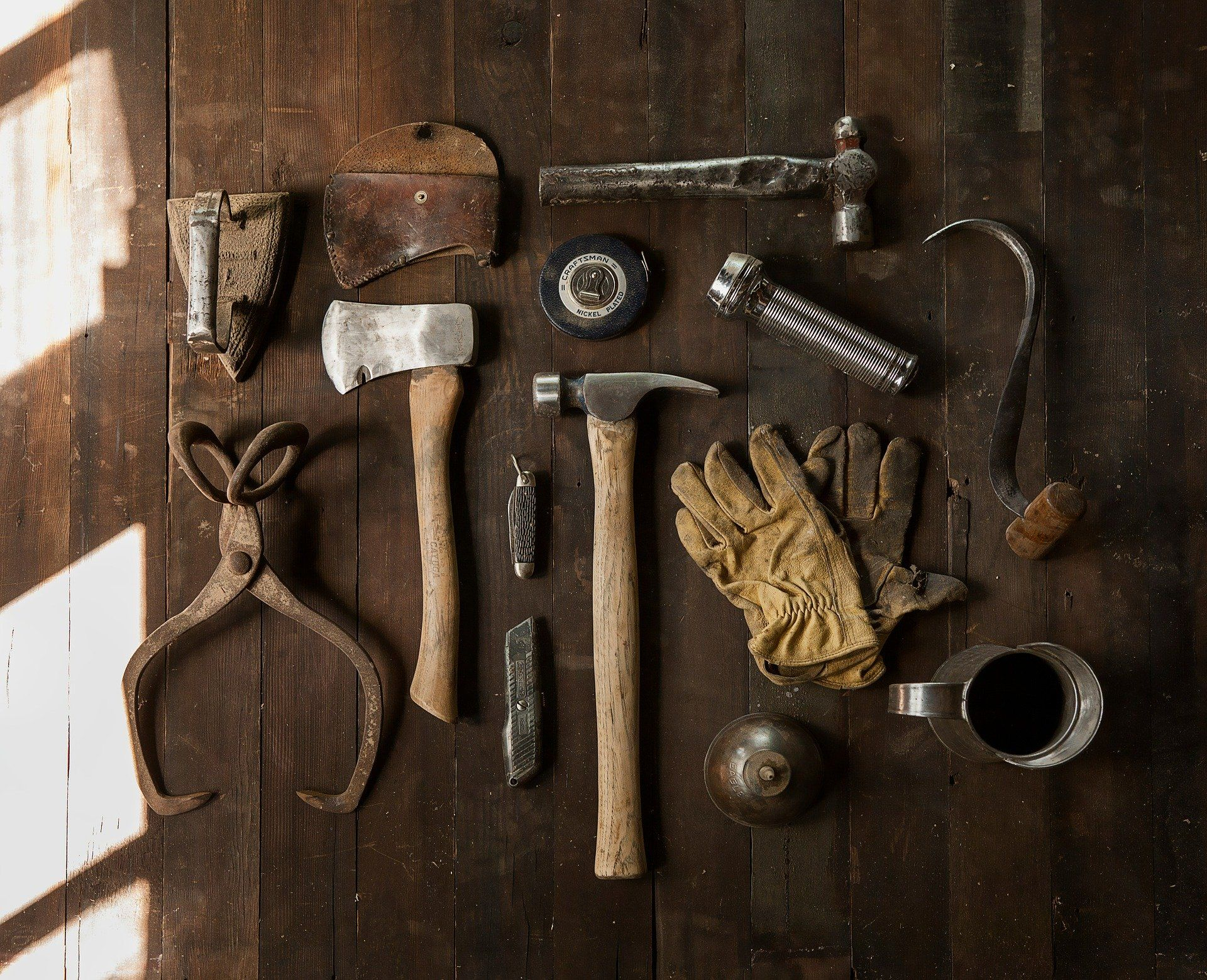 Tools on a wooden floor