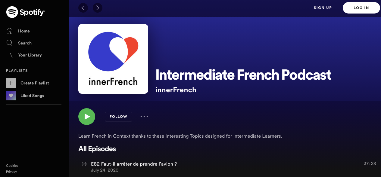 Spotify screenshot of inner French podcast