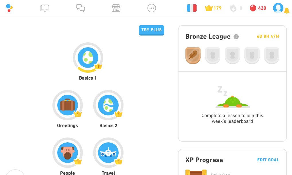 Screenshot of learn Spanish app Duolingo