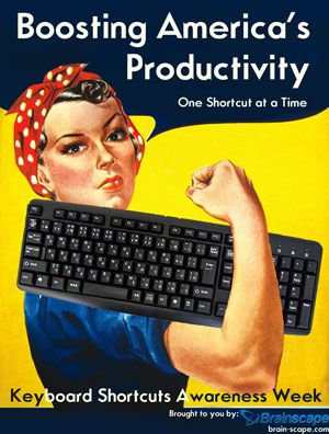 Poster for 'Boosting America's Productivity', learning keyboard shortcuts