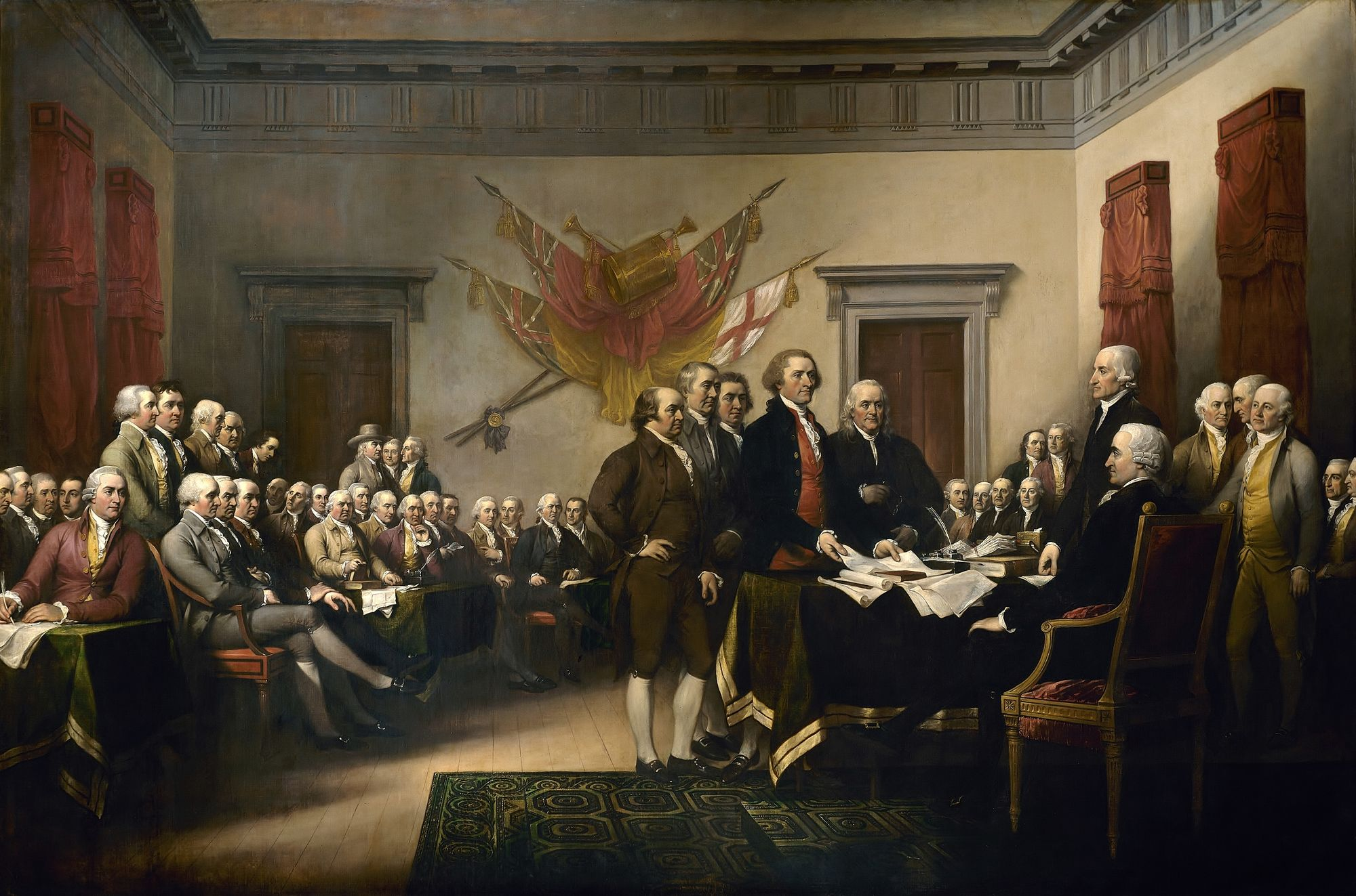 Founding fathers signing declaration of independence