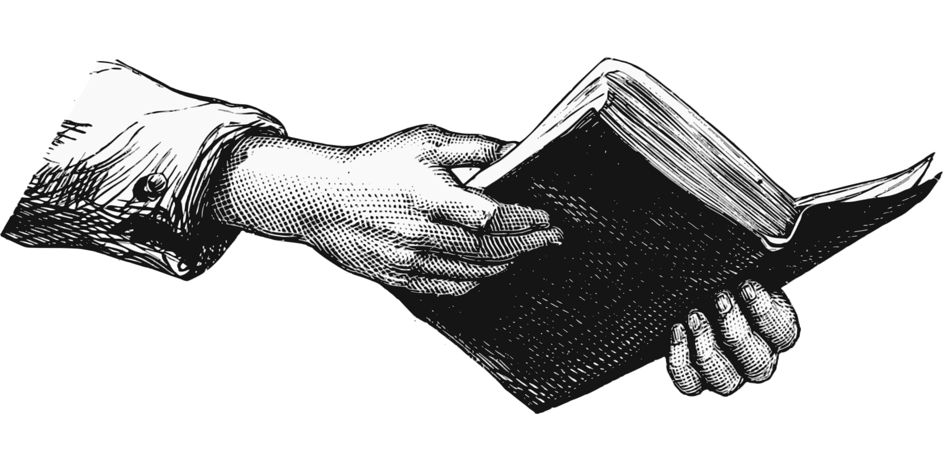 Drawing of hands holding a book