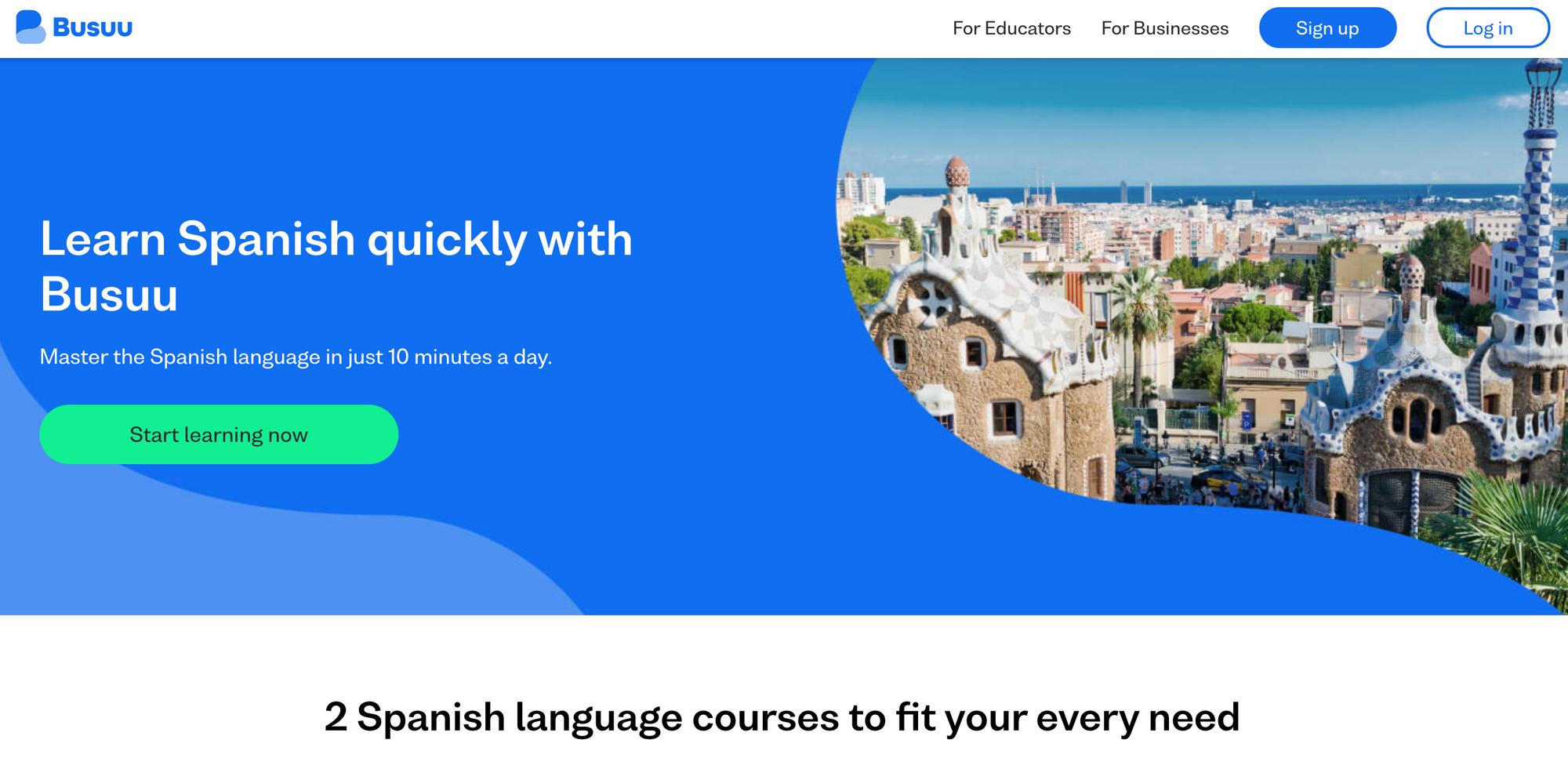Screenshot of Busuu Learn Spanish