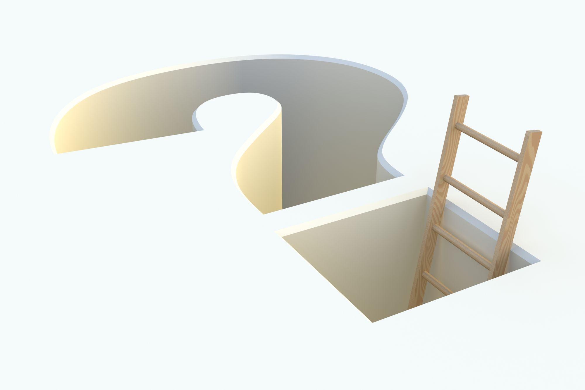 Ladder inside a 3D question mark