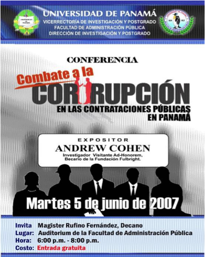 Spanish poster about a conference and speech by Andrew Cohen