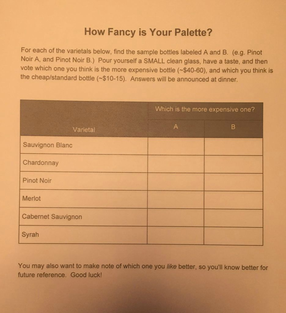 Wine tasting ballot sheet