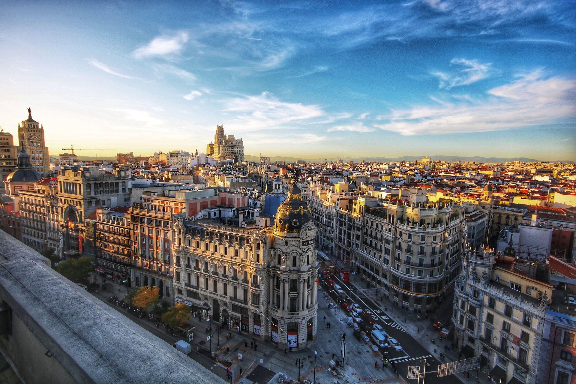 Madrid city in sun learn spanish