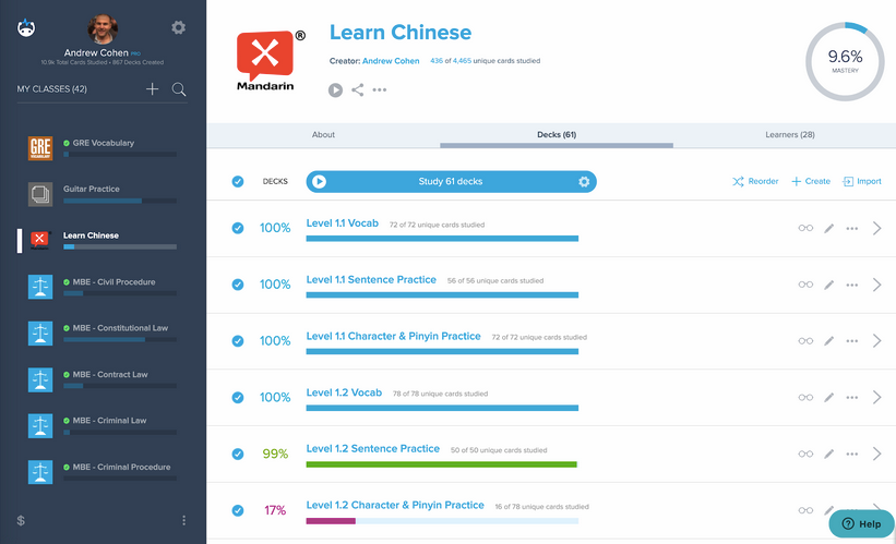 Brainscape learn chinese flashcards