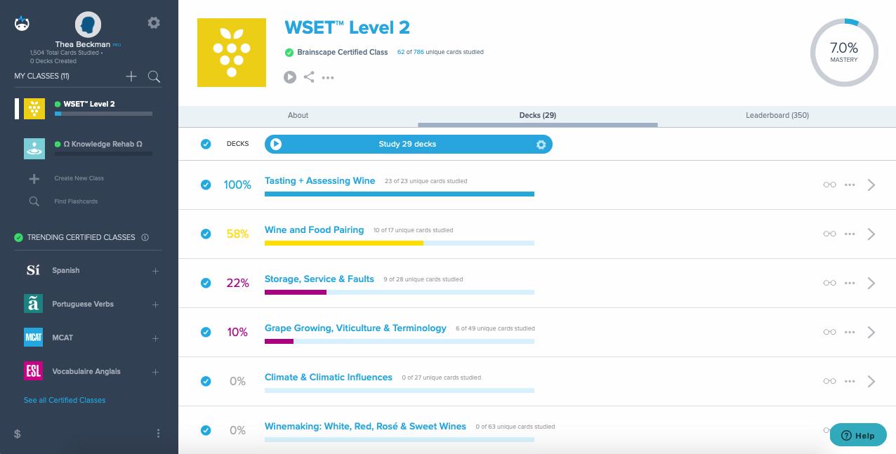 Brainscape WSET Level 2 exam