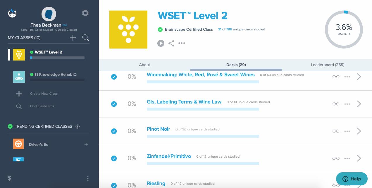 Brainscape interface WSET Level 2 exam
