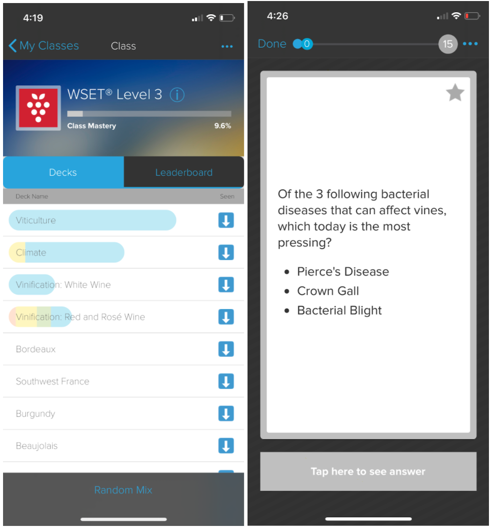 Brainscape interface for WSET Level 3 exam