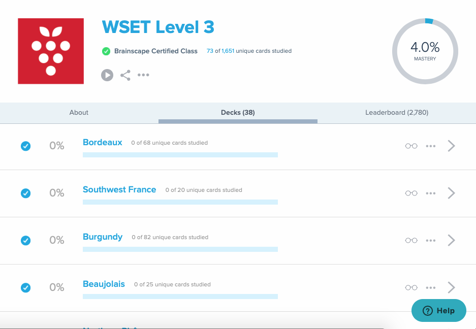 Brainscape's WSET Level 3 study program Brainscape dashboard