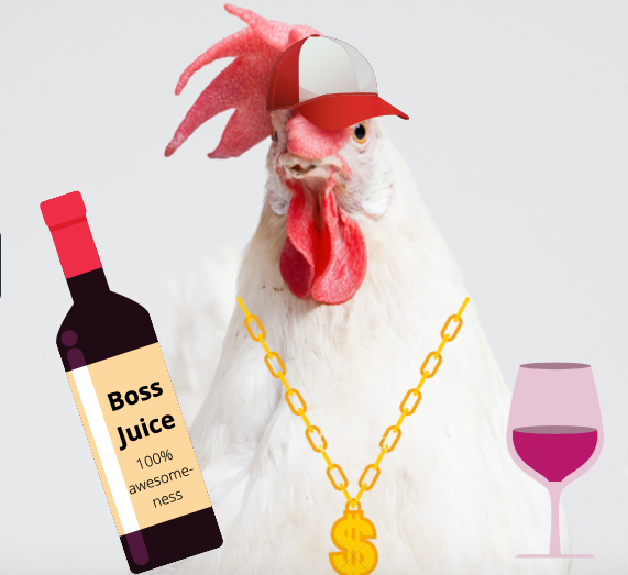 Chicken with wine and a wine glass