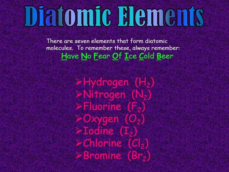 Diatomic elements used in mnemonics