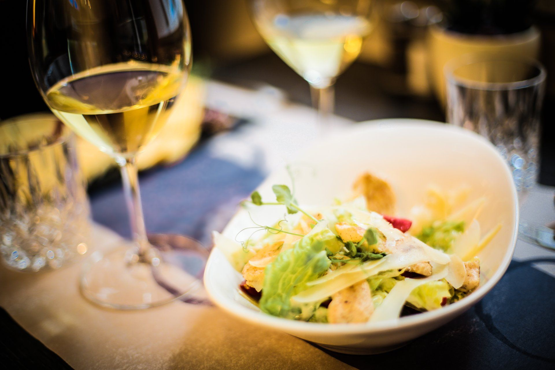 Fancy salad with white wine