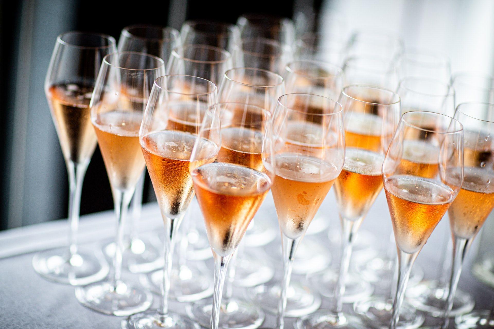 Wine glasses on table; WSET 3 topics
