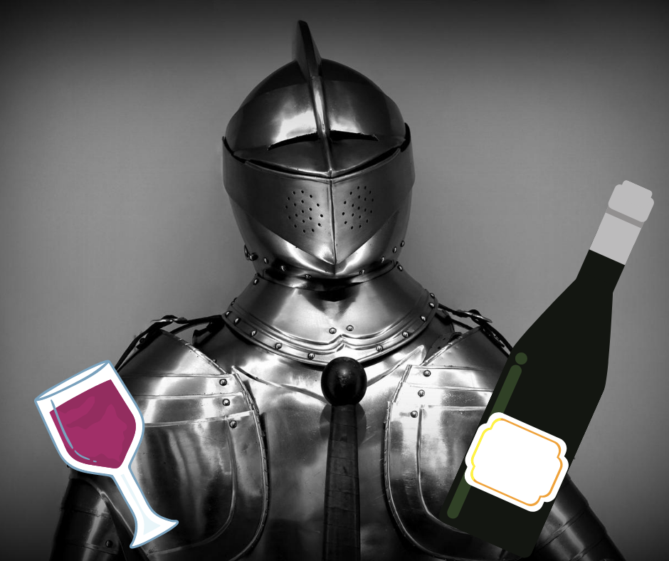 Knight holding a wine glass and bottle