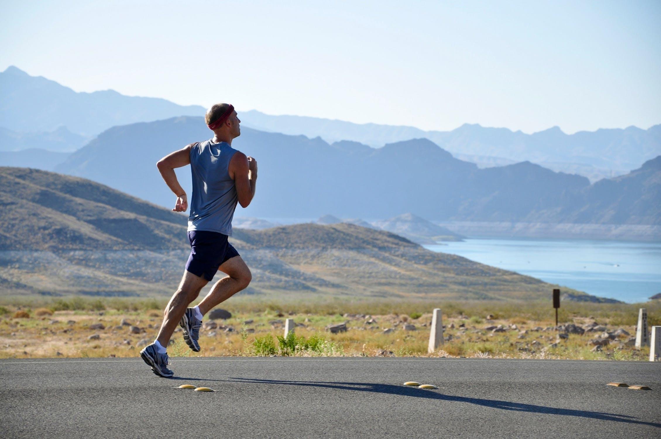 Man running on the road; Bar exam