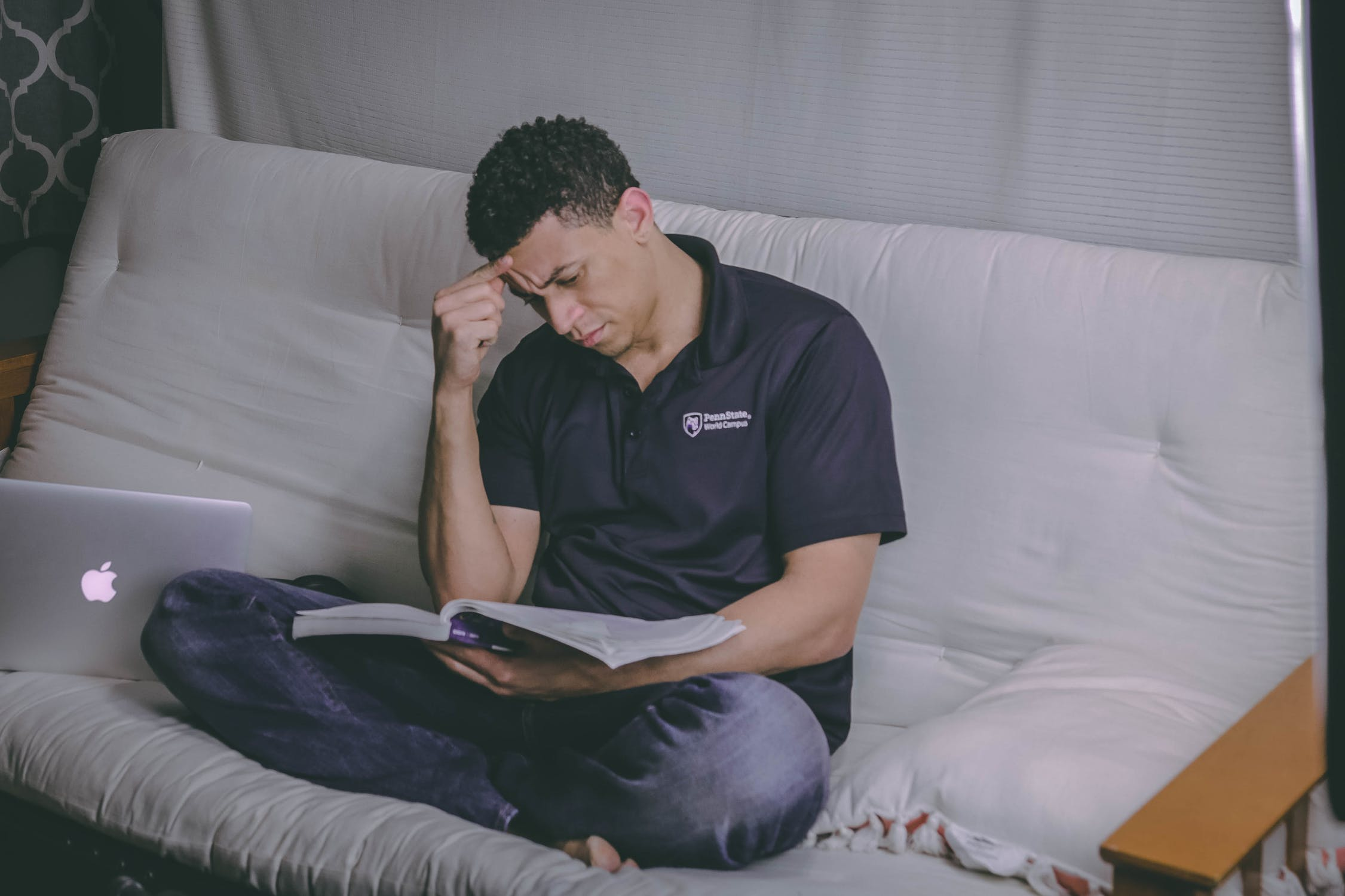 Man studying intensively for the Bar exam
