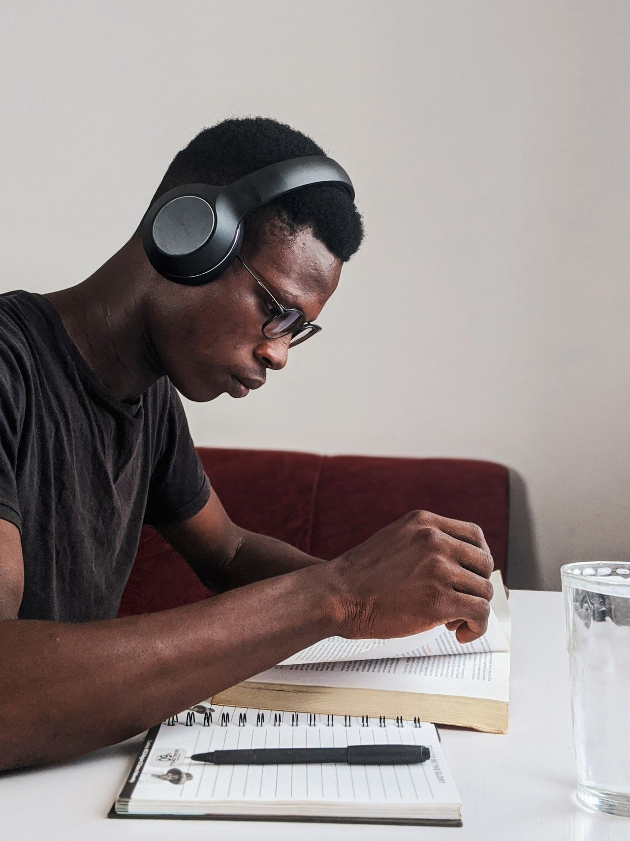 Man studying for practice bar exam