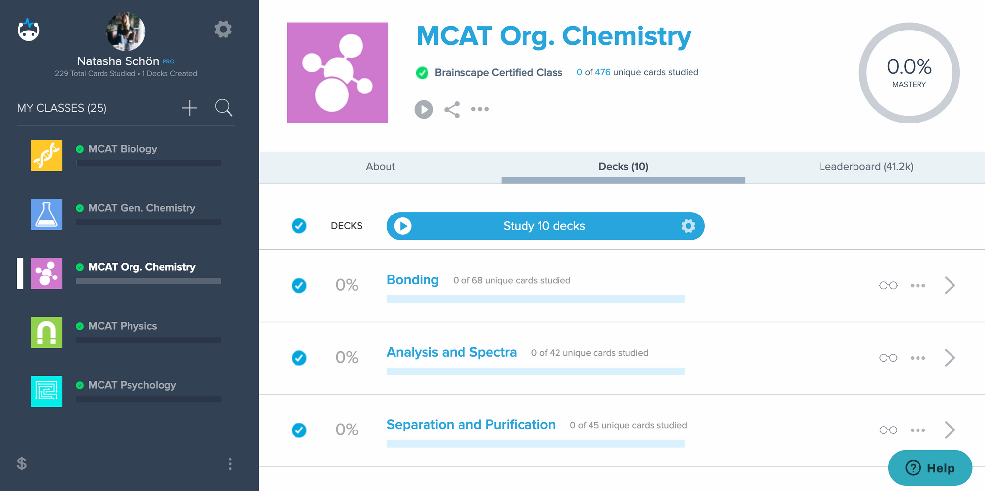 Brainscape'S dashboard of organic chemistry MCAT