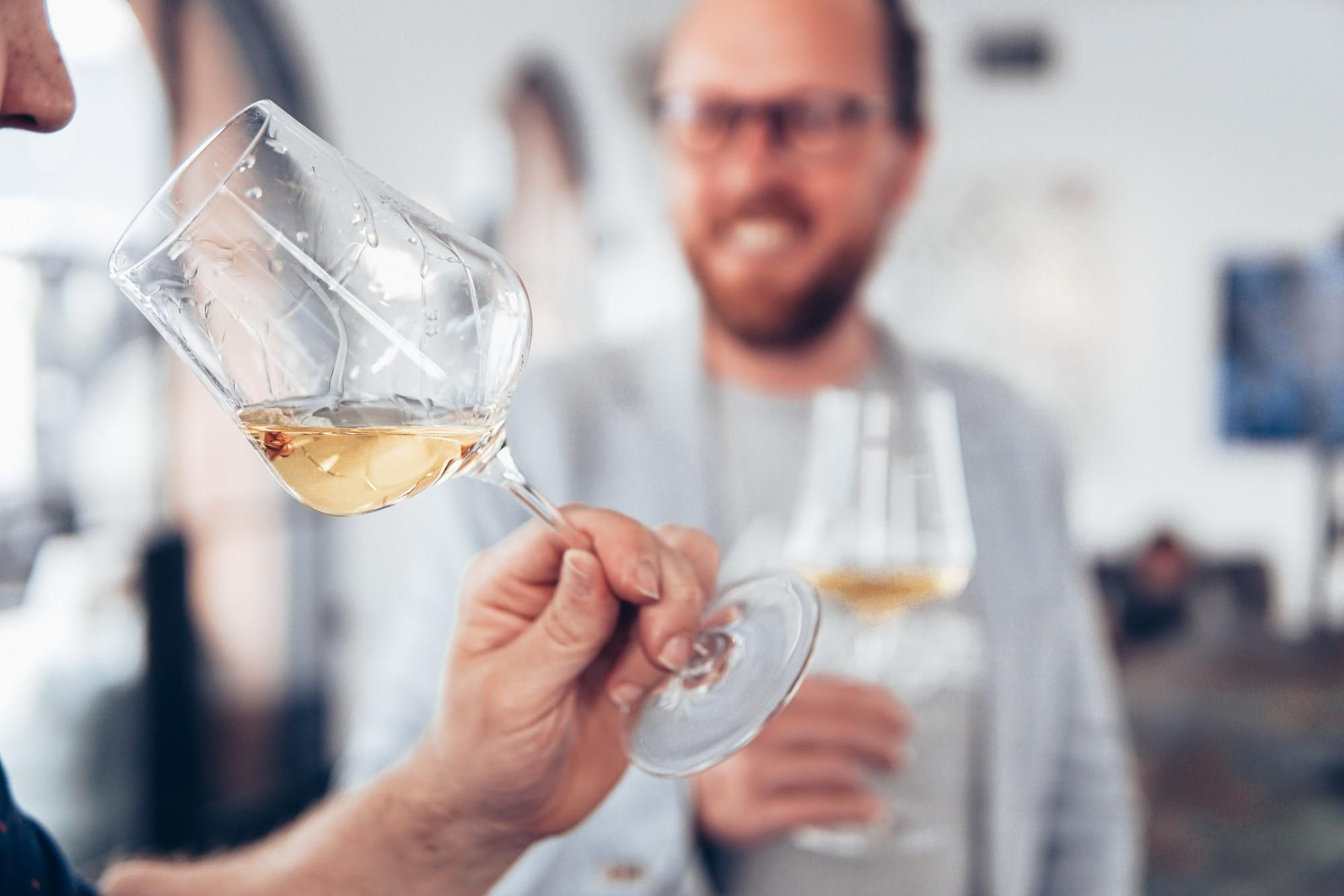 Drinking a white wine; WSET Level 3 exam
