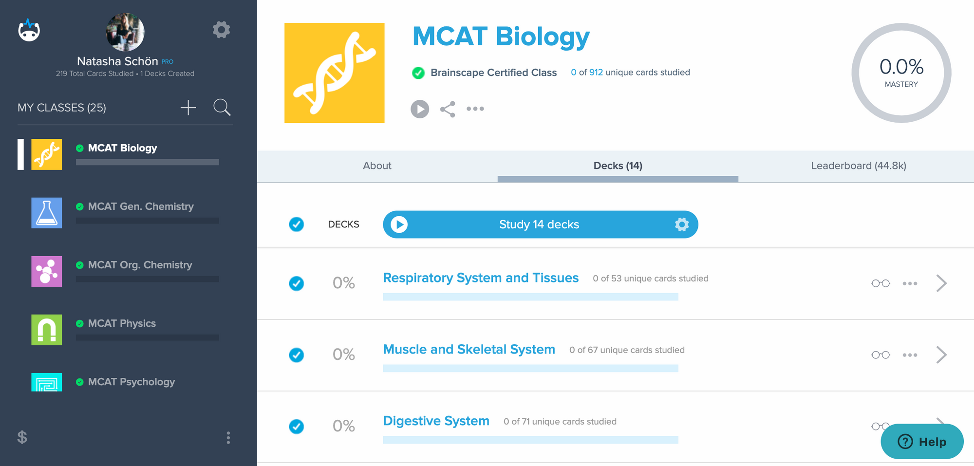 Studying for the MCAT using Brainscape's flashcards