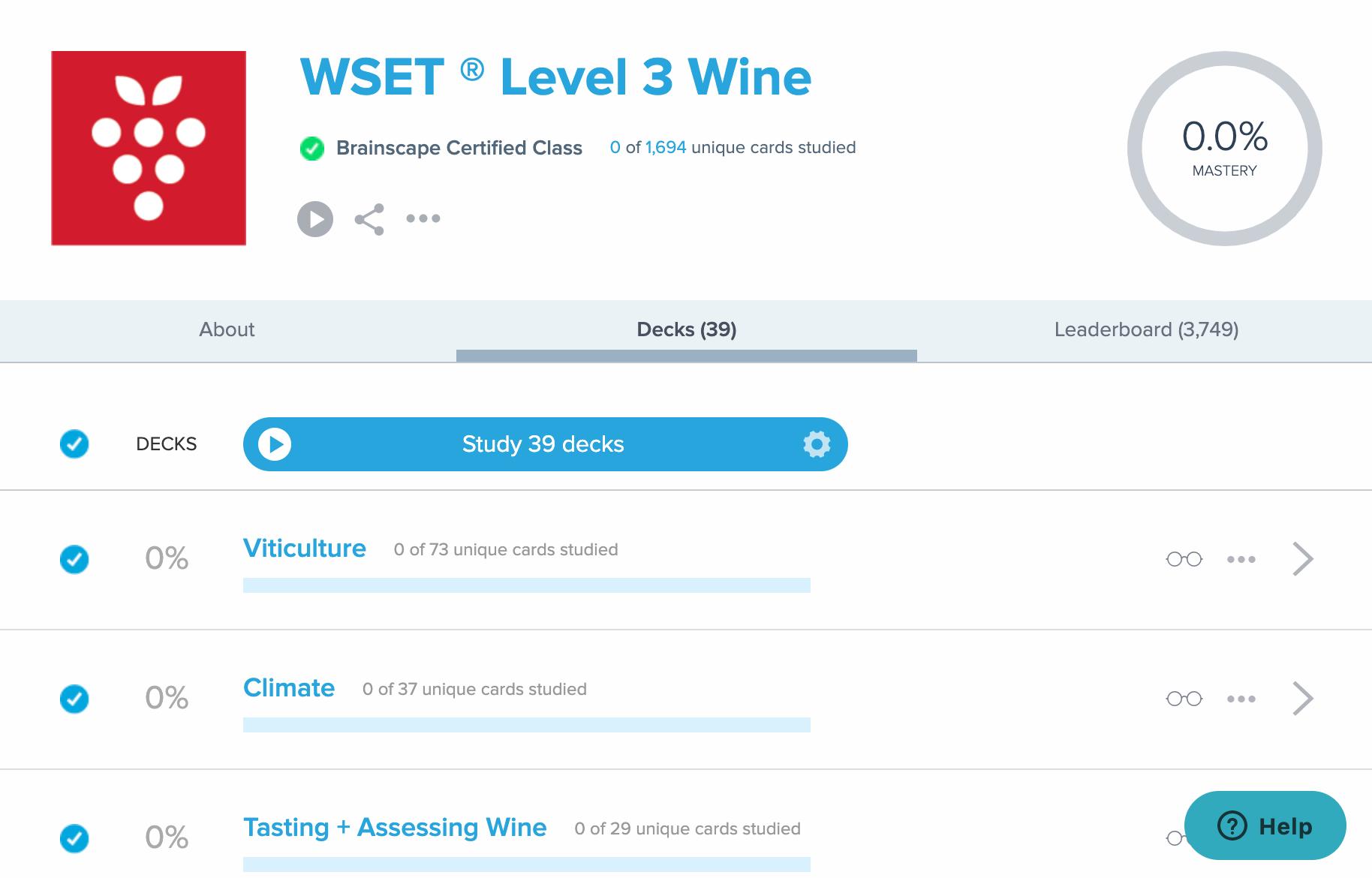 Brainscape interface WSET Level 3 exam
