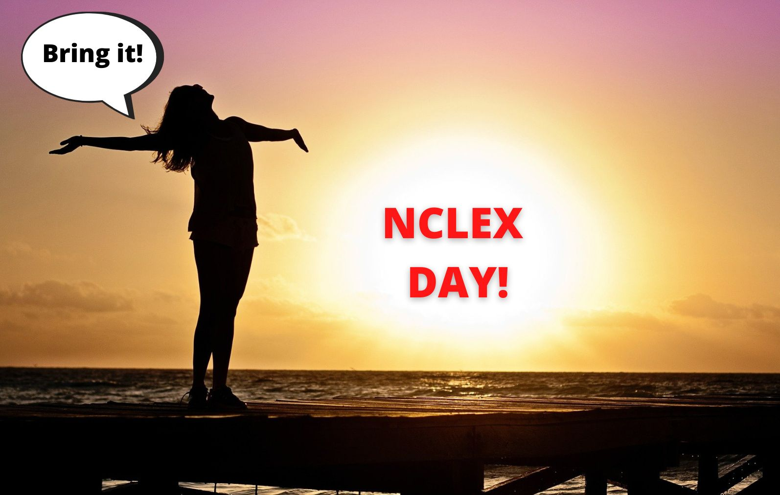 Girl in front of sunset; strategy for NCLEX