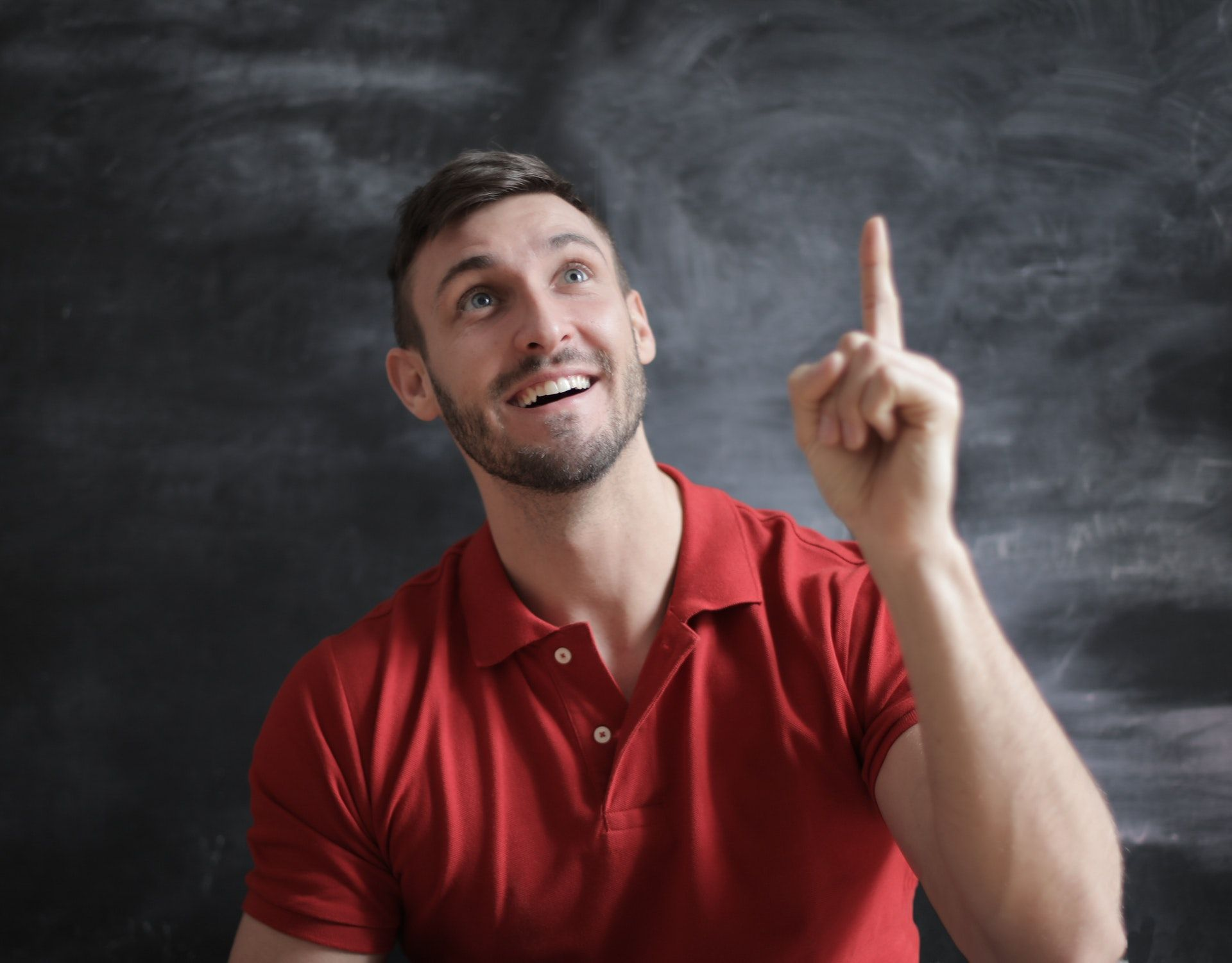 Man in red shirt; WSET Level 1 practice exam