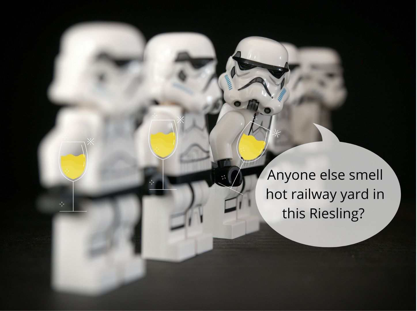 Stormtroopers with wine glasses; WSET Level 1 exam