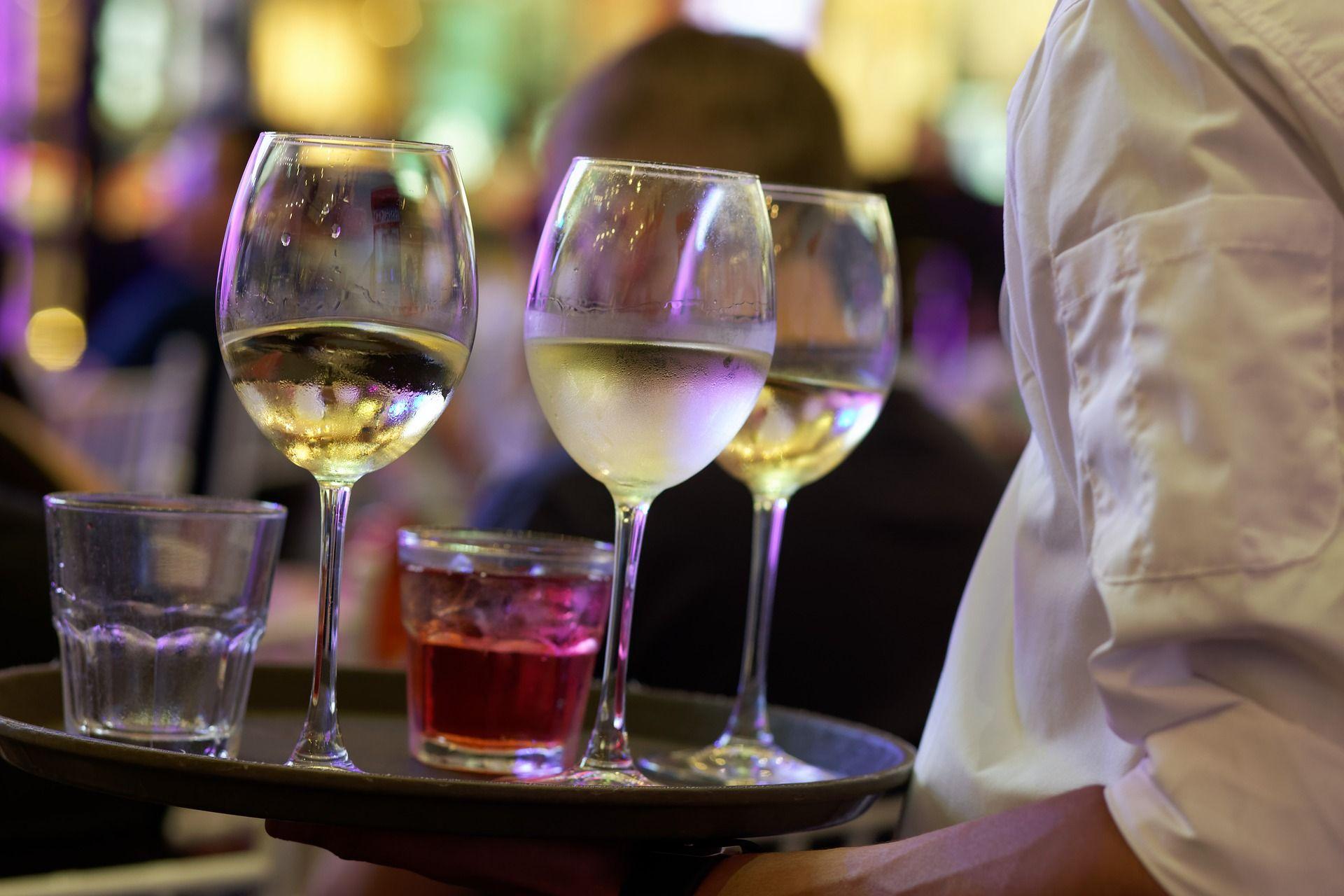 White wine on trays; WSET Level 1 exam