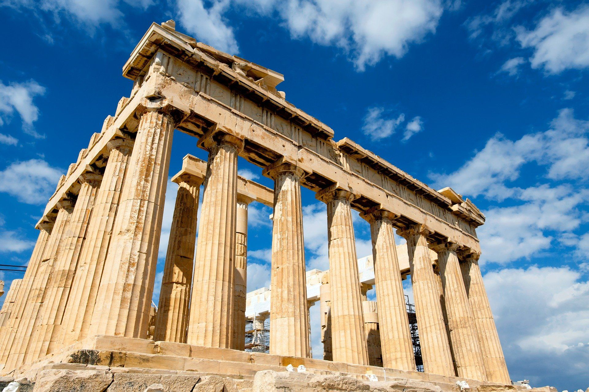 Parthenon from ancient greek times, building of columns